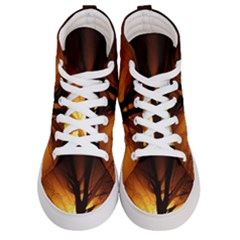 Rays Of Light Tree In Fog At Night Women s Hi Top Skate Sneakers