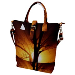 Rays Of Light Tree In Fog At Night Buckle Top Tote Bag