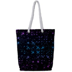 Stars Pattern Seamless Design Full Print Rope Handle Tote (small)