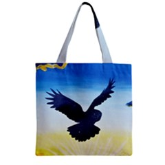 Sunset Owl Zipper Grocery Tote Bag