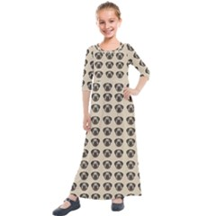 Puppy Dog Pug Pup Graphic Kids  Quarter Sleeve Maxi Dress by Jojostore