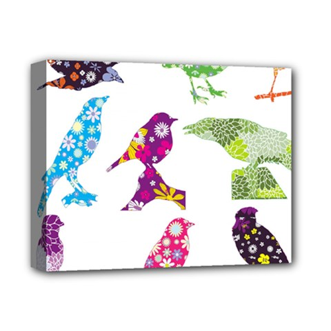 Birds Colorful Floral Funky Deluxe Canvas 14  X 11  (stretched) by Jojostore