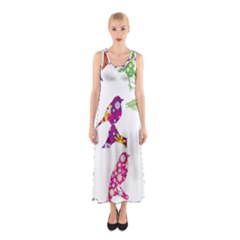 Birds Colorful Floral Funky Sleeveless Maxi Dress