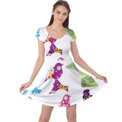 Birds Colorful Floral Funky Cap Sleeve Dress