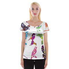 Birds Colorful Floral Funky Cap Sleeve Top