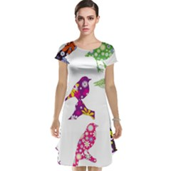 Birds Colorful Floral Funky Cap Sleeve Nightdress
