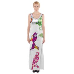 Birds Colorful Floral Funky Maxi Thigh Split Dress