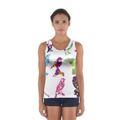 Birds Colorful Floral Funky Sport Tank Top