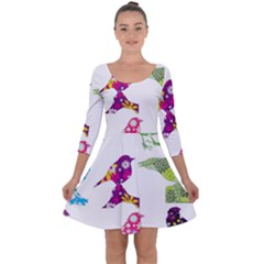 Birds Colorful Floral Funky Quarter Sleeve Skater Dress