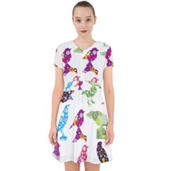 Birds Colorful Floral Funky Adorable In Chiffon Dress