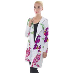 Birds Colorful Floral Funky Hooded Pocket Cardigan