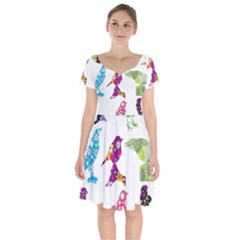 Birds Colorful Floral Funky Short Sleeve Bardot Dress