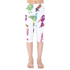 Birds Colorful Floral Funky Kids  Capri Leggings