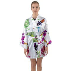 Birds Colorful Floral Funky Long Sleeve Kimono Robe