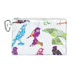 Birds Colorful Floral Funky Canvas Cosmetic Bag (large)