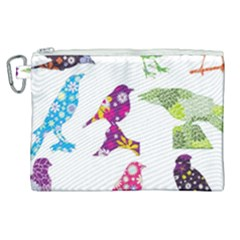 Birds Colorful Floral Funky Canvas Cosmetic Bag (xl) by Jojostore