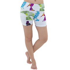 Birds Colorful Floral Funky Lightweight Velour Yoga Shorts