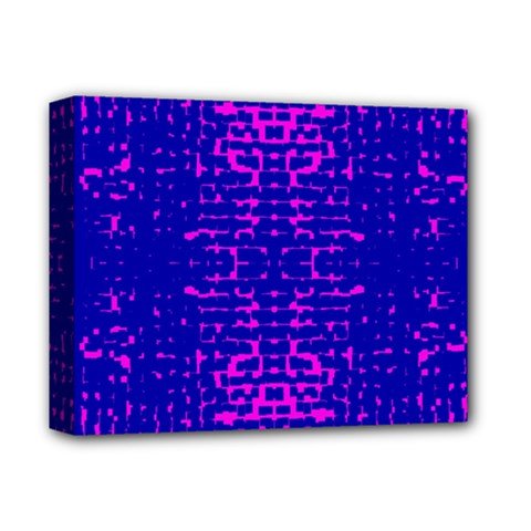 Blue And Pink Pixel Pattern Deluxe Canvas 14  X 11  (stretched) by Jojostore