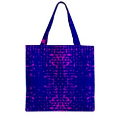 Blue And Pink Pixel Pattern Zipper Grocery Tote Bag by Jojostore