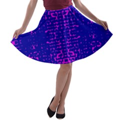 Blue And Pink Pixel Pattern A Line Skater Skirt