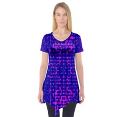 Blue And Pink Pixel Pattern Short Sleeve Tunic