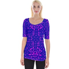 Blue And Pink Pixel Pattern Wide Neckline Tee