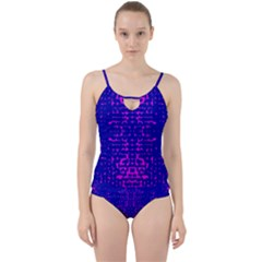 Blue And Pink Pixel Pattern Cut Out Top Tankini Set