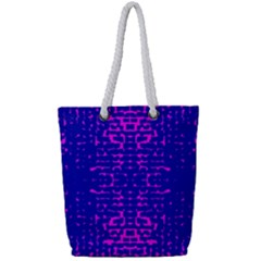 Blue And Pink Pixel Pattern Full Print Rope Handle Tote (small) by Jojostore