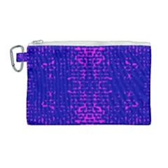 Blue And Pink Pixel Pattern Canvas Cosmetic Bag (large)