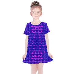 Blue And Pink Pixel Pattern Kids  Simple Cotton Dress
