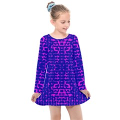 Blue And Pink Pixel Pattern Kids  Long Sleeve Dress