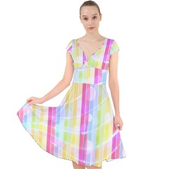 Colorful Abstract Stripes Circles And Waves Wallpaper Background Cap Sleeve Front Wrap Midi Dress