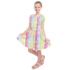 Colorful Abstract Stripes Circles And Waves Wallpaper Background Kids  Short Sleeve Dress
