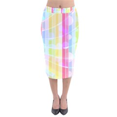 Colorful Abstract Stripes Circles And Waves Wallpaper Background Velvet Midi Pencil Skirt