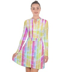 Colorful Abstract Stripes Circles And Waves Wallpaper Background Long Sleeve Panel Dress by Jojostore