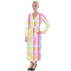 Colorful Abstract Stripes Circles And Waves Wallpaper Background Velvet Maxi Wrap Dress