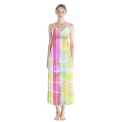 Colorful Abstract Stripes Circles And Waves Wallpaper Background Button Up Chiffon Maxi Dress