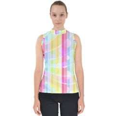 Colorful Abstract Stripes Circles And Waves Wallpaper Background Mock Neck Shell Top