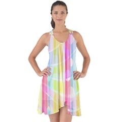 Colorful Abstract Stripes Circles And Waves Wallpaper Background Show Some Back Chiffon Dress