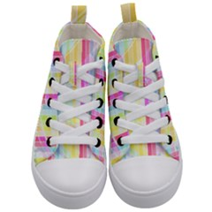 Colorful Abstract Stripes Circles And Waves Wallpaper Background Kid s Mid Top Canvas Sneakers