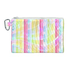 Colorful Abstract Stripes Circles And Waves Wallpaper Background Canvas Cosmetic Bag (large)