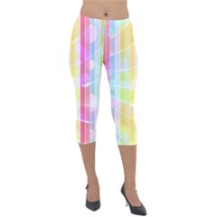 Colorful Abstract Stripes Circles And Waves Wallpaper Background Lightweight Velour Capri Leggings