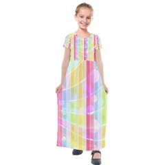 Colorful Abstract Stripes Circles And Waves Wallpaper Background Kids  Short Sleeve Maxi Dress