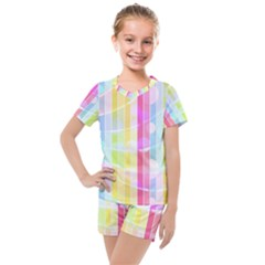 Colorful Abstract Stripes Circles And Waves Wallpaper Background Kids  Mesh Tee And Shorts Set