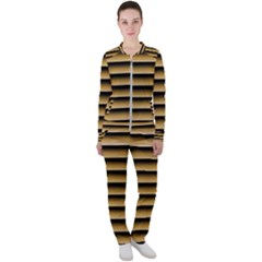 Golden Line Background Casual Jacket And Pants Set