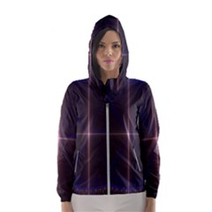Color Fractal Symmetric Blue Circle Hooded Windbreaker (women)
