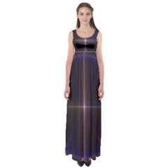 Color Fractal Symmetric Blue Circle Empire Waist Maxi Dress