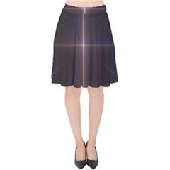 Color Fractal Symmetric Blue Circle Velvet High Waist Skirt by Jojostore