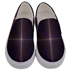 Color Fractal Symmetric Blue Circle Men s Canvas Slip Ons