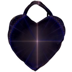 Color Fractal Symmetric Blue Circle Giant Heart Shaped Tote